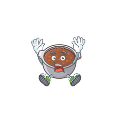 Dish baked beans with cartoon successful mascot vector