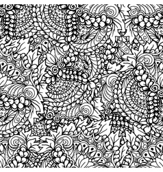 Doodle style floral garden seamless pattern vector image