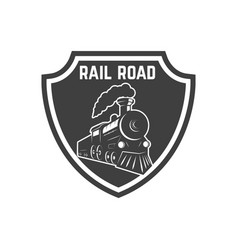 emblem template with retro train design element vector image
