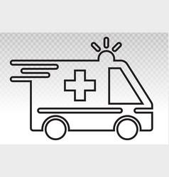 Emergency ambulance vehicle services line art vector