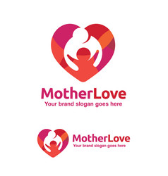 Family love logo mother and child with heart vector