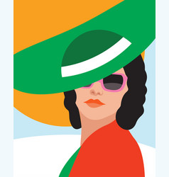Fashion woman with hat art portrait flat design vector