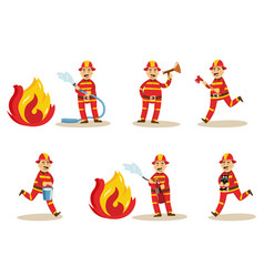 fireman in protection uniform set vector image