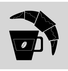Flat in black white croissant and coffee vector