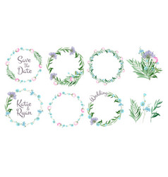 floral frames circle shapes with flowers branches vector image