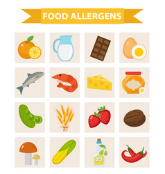Food allergen icon set flat style allergy vector