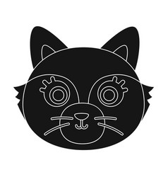 Fox muzzle icon in black style isolated on white vector