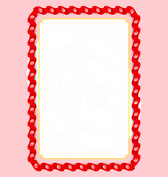 Frame and border of ribbon with tunisia flag vector