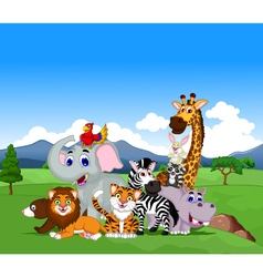 funny animal cartoon collection in the jungle vector image