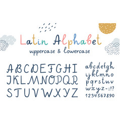 funny children latin hand drawn alphabet vector image