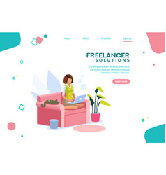 Girl freelancer template homepage vector
