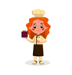 Girl professional confectioner character holding vector