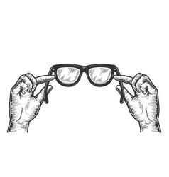 glasses in hands sketch engraving vector image