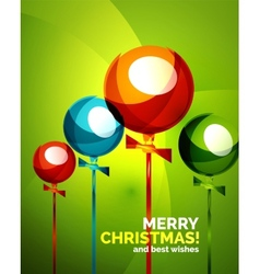 Glossy Christmas balloons greeting card template vector image