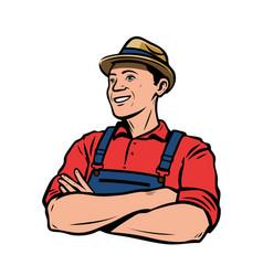 happy farmer in hat agriculture farming retro vector image