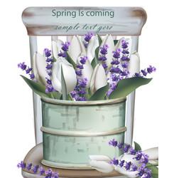 Lavender bouquet vintage vase realistic vector