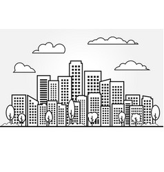 line city and skyscraper on white background vector image