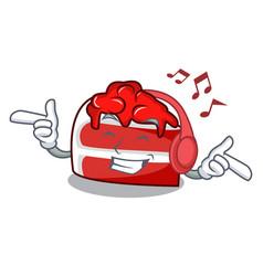 Listening music red velvet mascot cartoon vector