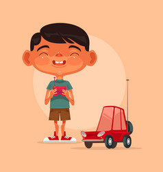 Little happy smiling boy character play vector