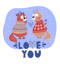 love squirrel valentine cartoon animal set vector image
