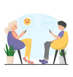 man and woman sitting in chair and chatting vector image
