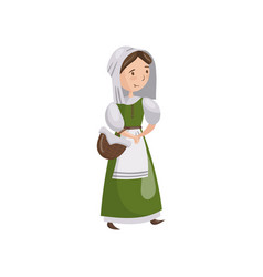 medieval maid in traditional dress cartoon vector image