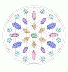 Metatron cube grid with wiccan crystals meditation vector