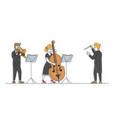 Musicians with instruments and conductor vector