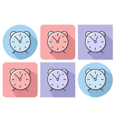 outlined icon of alarm clock with parallel and vector image