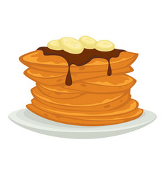 Pancakes with chocolate topping and banana slices vector