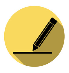 pencil sign flat black icon vector image