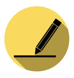 Pencil sign flat black icon vector