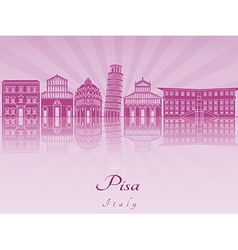 Pisa skyline in purple radiant orchid vector