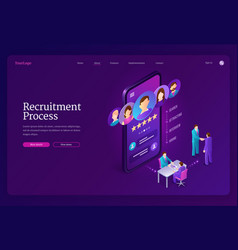Recruitment process isometric landing page banner vector
