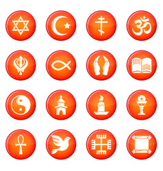Religion icons set red vector