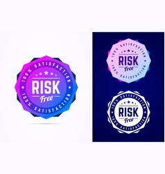 Risk free round badge sign in trendy vector