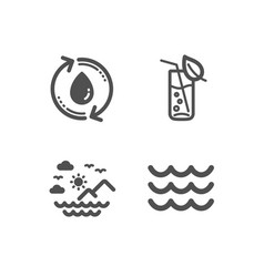 Sea mountains refill water and water glass icons vector