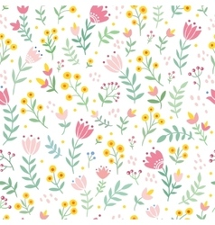 Seamless with wild flowers vector