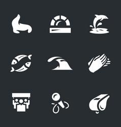 set dolphinarium icons vector image