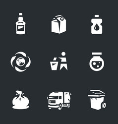 Set garbage icons vector