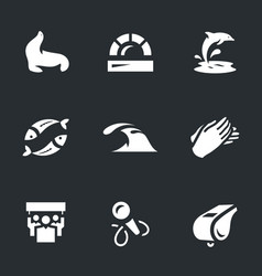 Set of dolphinarium icons vector
