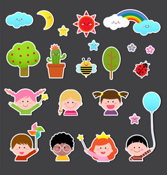 Set of kids and cute nature element vector
