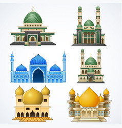 set of muslim mosque isolated on white background vector image