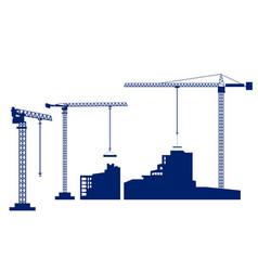 set tower crane builds a house dark blue vector image