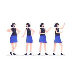 set woman character poses in blue modern style vector image