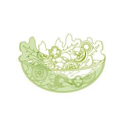 Silhouette delicious fresh organ salad in the bowl vector