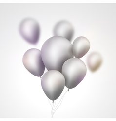 Silver Balloons bunch Set of festive silver gray vector image