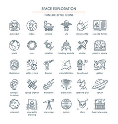 space exploration thin line icons vector image