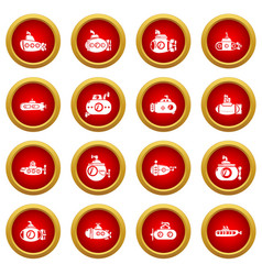 Submarine icons set simple style vector