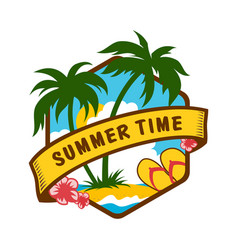 summer time tropical emblem with sea and palms vector image